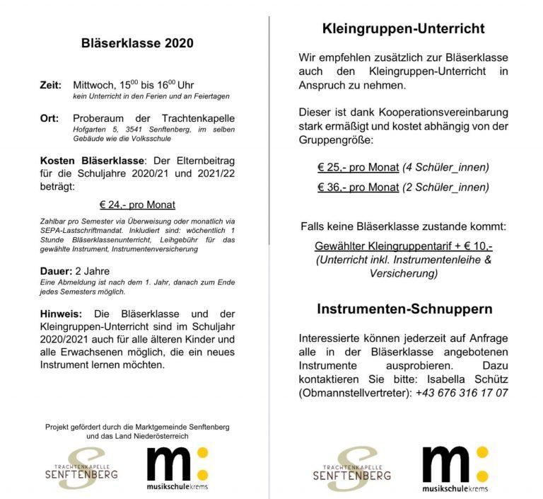 Bläserklasse Infoblatt
